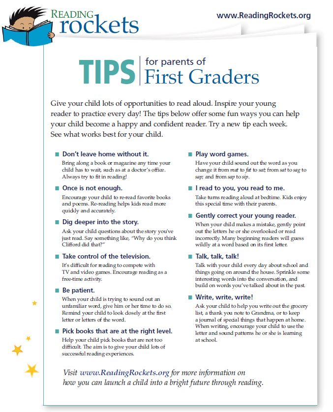 Reading Rockets Tips for Parents of Grade 1 Students