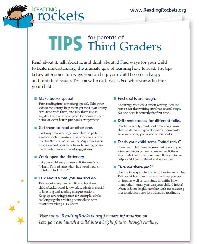 Reading Rockets Tips for Parents of Grade 3 Students