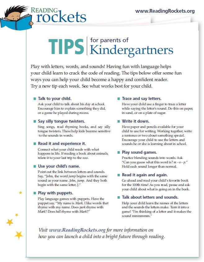 Reading Rockets Tips for Parents of Kindergarten Students